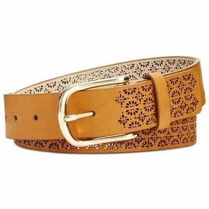 INC | Perforated Faux Leather Belt - Cognac